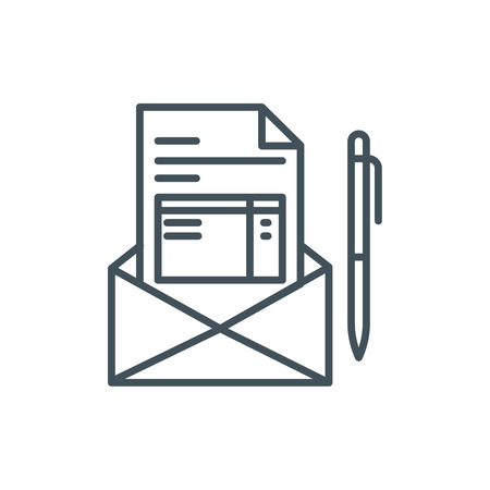 payable: Invoice, email receipt icon suitable for info graphics, websites and print media. Colorful vector, flat icon, clip art.