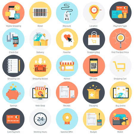 check out: Shopping theme, flat style, colorful, vector icon set for info graphics, websites, mobile and print media.