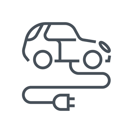 Electric, green energy car icon suitable for info graphics, websites and print media and  interfaces. Line vector icon. Ilustrace