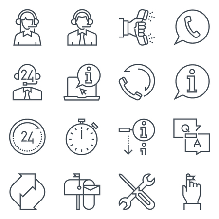 tele: Support and tele market icon set suitable for info graphics, websites and print media. Black and white flat line icons.