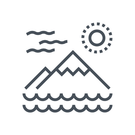Mountain and sea icon suitable for info graphics, websites and print media and  interfaces. Line vector icon.
