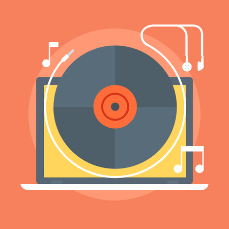 long play: Music flat style, colorful, vector icon for info graphics, websites, mobile and print  media. Illustration