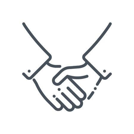 fair play: Hand shake icon suitable for info graphics, websites and print media and  interfaces. Hand drawn style, line, vector icon.