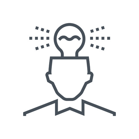 iq: Idea, lamp on head icon suitable for info graphics, websites and print media and  interfaces. Line vector icon. Human face, head, line vector icon. Illustration