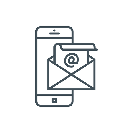 Email and mobile phone icon suitable for info graphics, websites and print media and  interfaces. Line vector icon.