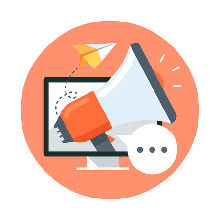 loudspeaker: Promotion, flat style, colorful, vector icon for info graphics, websites, mobile and print media. Illustration