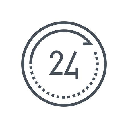 twenty four hours: Twenty four hours open icon suitable for info graphics, websites and print media and  interfaces. Line vector icon. Illustration