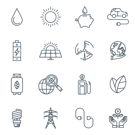 emission: Green energy icon set suitable for info graphics, websites and print media. Black and white flat line icons.