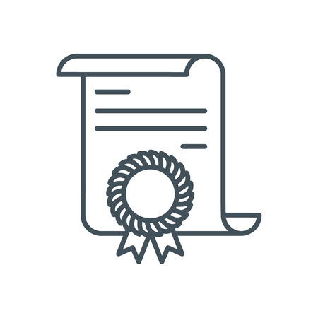 credentials: Diploma  icon suitable for info graphics, websites and print media and  interfaces. Line vector icon.