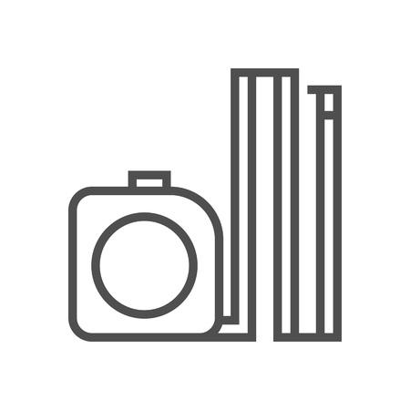millimeters: Meter tape icon suitable for info graphics, websites and print media and  interfaces. Line vector icon.