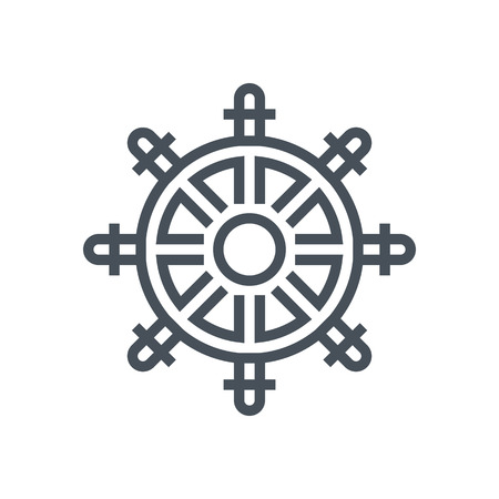 ship steering wheel: Ship steering wheel icon suitable for info graphics, websites and print media and  interfaces. Line vector icon.