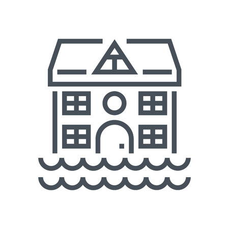 house flood: Flood, house icon suitable for info graphics, websites and print media and  interfaces. Line vector icon.