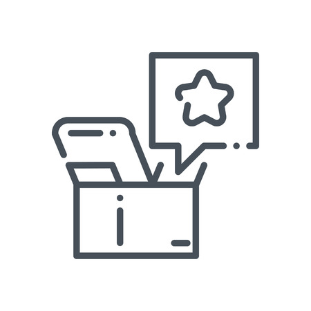 shipped: Product promotion icon suitable for info graphics, websites and print media and  interfaces. Hand drawn style, pixel perfect line vector icon.