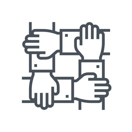 icono de trabajo en equipo adecuado para la información de gráficos, páginas web y medios impresos e interfaces. Línea de iconos de vectores.