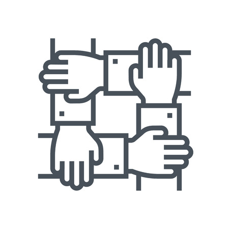 obreros trabajando: icono de trabajo en equipo adecuado para la informaci�n de gr�ficos, p�ginas web y medios impresos e interfaces. L�nea de iconos de vectores.