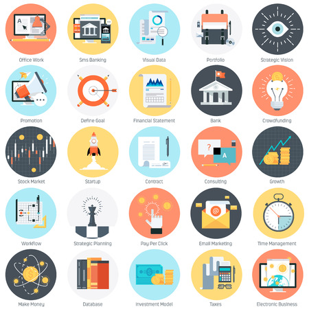 financial symbols: Business and finance theme, flat style, colorful, vector icon set for info graphics, websites, mobile and print media.