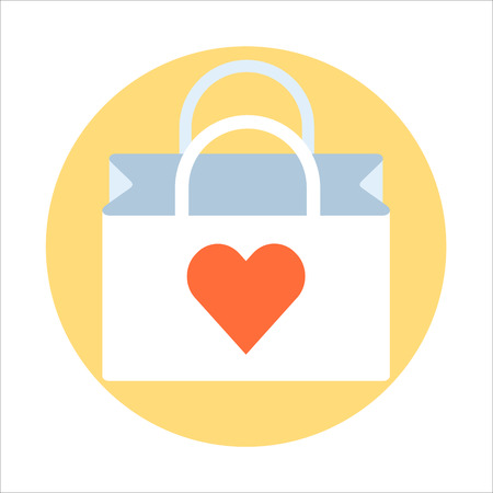 package printing: Shopping bag theme, flat style, colorful, vector icon for info graphics, websites, mobile and print media. Illustration