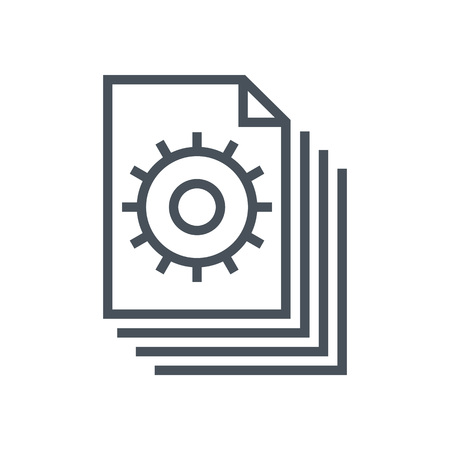 accelerate: Content management, gears icon suitable for info graphics, websites and print media and  interfaces. Line vector icon.
