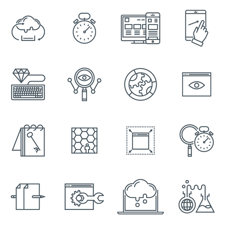 best protection: Search engine optimization icon set suitable for info graphics, websites and print media. Black and white flat line icons.