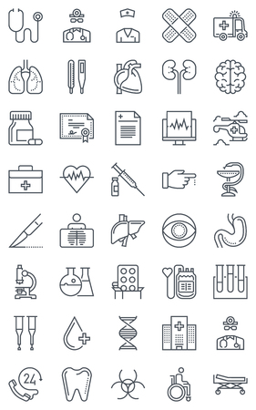 crouch: Hospital, health icon set suitable for info graphics, websites and print media. Black and white flat line icons.