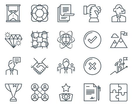 Business-Icon-Set geeignet für Info-Grafiken, Webseiten und Printmedien. Schwarze und weiße flache Linie Symbole.