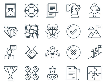 Business icon set suitable for info graphics, websites and print media. Black and white flat line icons.