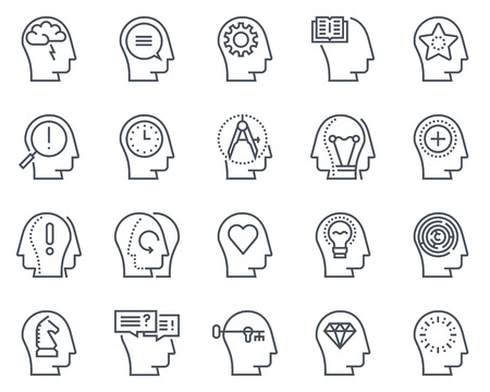 disappear: Human head, business and motivation icon set suitable for info graphics, websites and print media. Black and white flat line icons.