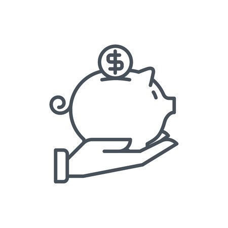 Piggy bank pictogram geschikt voor info graphics, websites en gedrukte media en interfaces. Lijn vector pictogram.