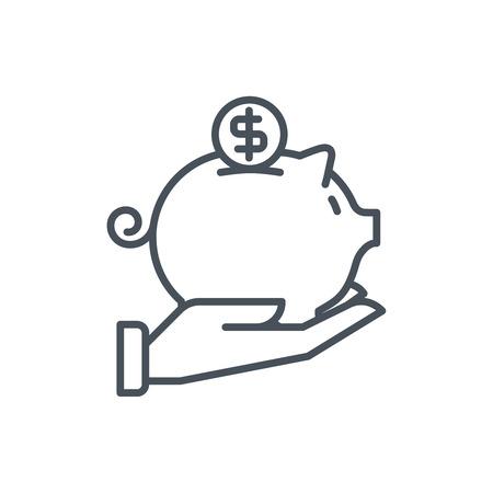 Piggy Bank Symbol für Info-Grafiken, Webseiten und Printmedien und Schnittstellen. Line-Vektor-Symbol. Vektorgrafik