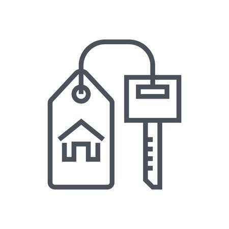 investment real state: Clave, hogar, bienes raíces icono adecuado para la información de gráficos, páginas web y medios impresos. Vector, icono plana, clip art. Vectores