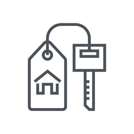 investment real state: Key, home, real estate icon suitable for info graphics, websites and print media. Vector, flat icon, clip art.