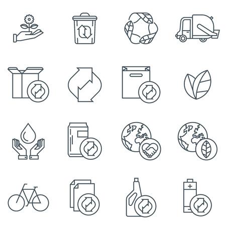 raccolta differenziata: icona di riciclaggio set adatto per informazioni grafiche, siti web e supporti di stampa. In bianco e nero icone linea piatta.