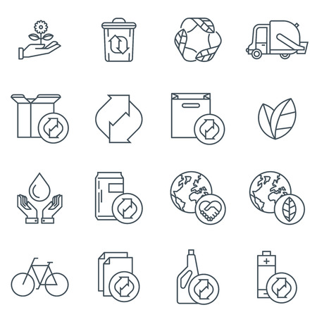 recycling: Recycling icon set suitable for info graphics, websites and print media. Black and white flat line icons.