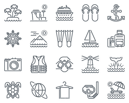 Holiday, beach icon set suitable for info graphics, websites and print media and  interfaces. Line vector icons.