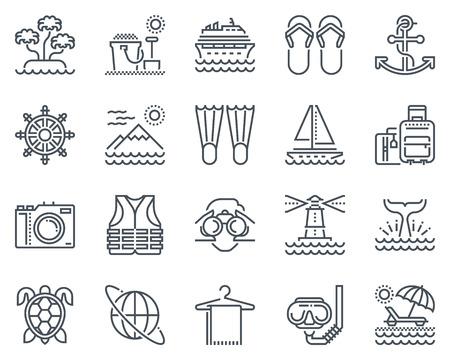 Vacanze, spiaggia icona set adatto per informazioni grafiche, siti web e supporti di stampa e interfacce. Icone linea vettoriale. Vettoriali
