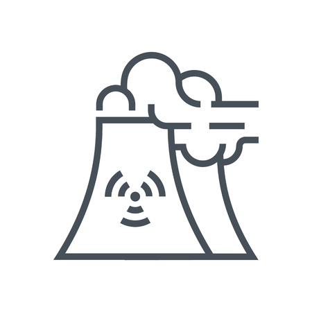 waste recovery: Nuclear plant icon suitable for info graphics, websites and print media and  interfaces. Line vector icon.