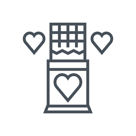 Valentines day chocolate icon suitable for info graphics, websites and print media. Vector, flat icon, clip art.