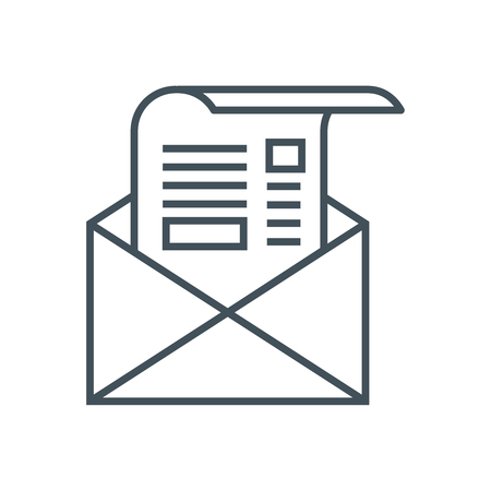 정보 그래픽, 웹 사이트 및 인쇄 매체 및 인터페이스에 적합한 뉴스 레터 아이콘. 라인 벡터 아이콘입니다. 일러스트