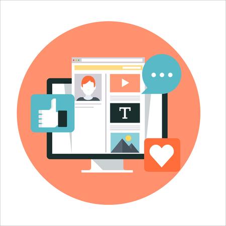 medios de comunicación: tema de medios de comunicación social, estilo plano, colorido, vector icono conjunto de información de gráficos, páginas web, móvil y medios impresos.