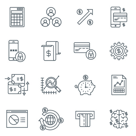 responsive: Business and finance icon set suitable for info graphics, websites and print media. Black and white flat line icons. Illustration