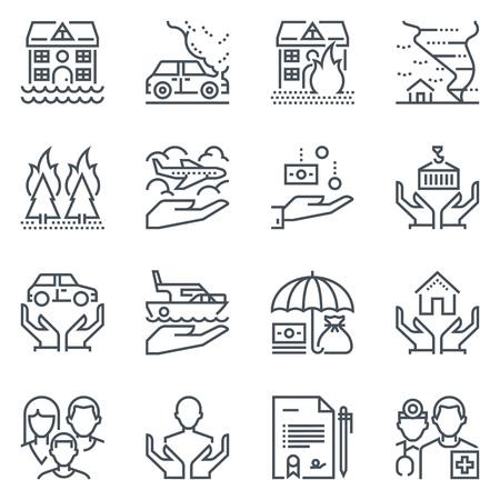 Insurance Icon Set geeignet für Info-Grafiken, Webseiten und Printmedien. Schwarze und weiße flache Linie Symbole.