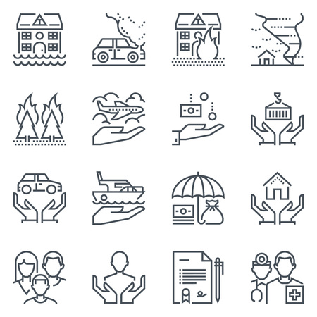 disaster: Insurance icon set suitable for info graphics, websites and print media. Black and white flat line icons. Illustration