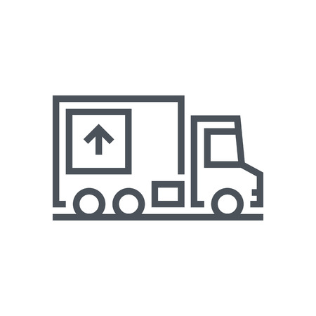 Move house, truck, real estate icon suitable for info graphics, websites and print media. Vector, flat icon, clip art. Ilustrace