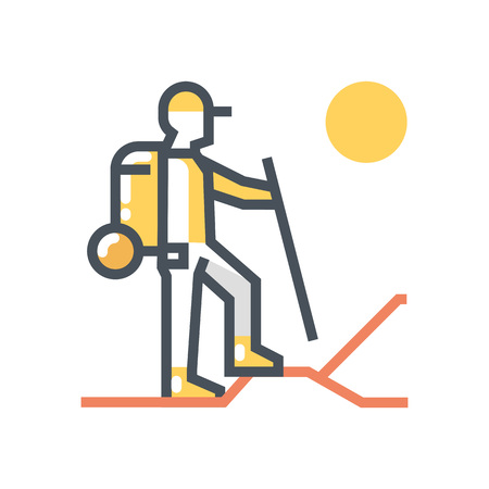 treck: Trekking icon suitable for info graphics, websites and print media and  interfaces. Line vector icon.