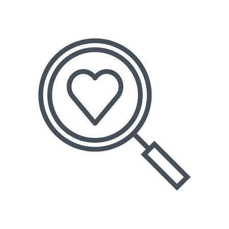 Find love, magnifier and heart icon suitable for info graphics, websites and print media. Vector, flat icon, clip art.