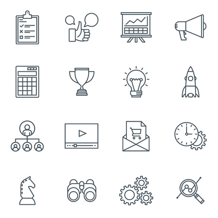 analyst: Business and finance icon set suitable for info graphics, websites and print media. Black and white flat line icons. Illustration