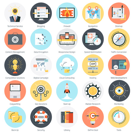 Search engine optimization theme, flat style, colorful, vector icon set for info graphics, websites, mobile and print media.