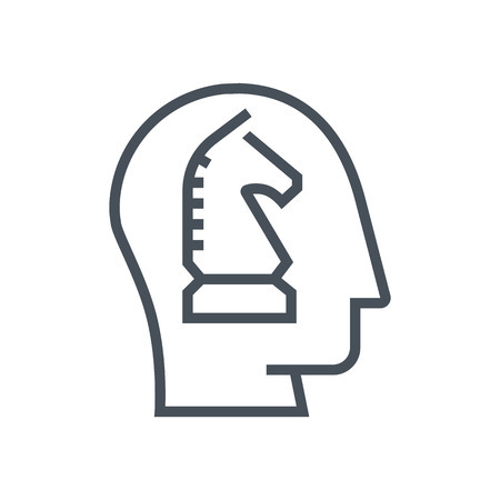 pensamiento estrategico: Strategic thinking icon suitable for info graphics, websites and print media and  interfaces. Line vector icon. Human face, head, line vector icon. Vectores
