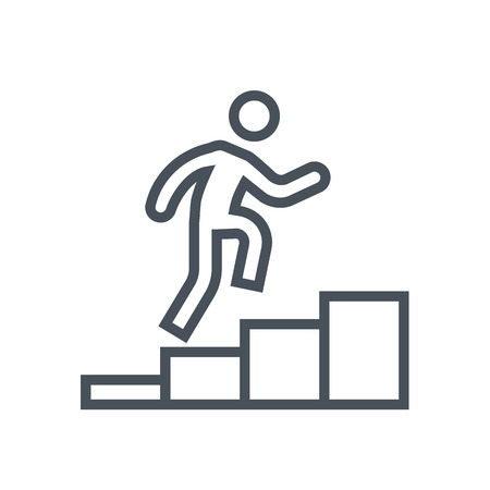 climbing up: Man climbing up icon suitable for info graphics, websites and print media. Colorful vector, flat icon, clip art. Illustration