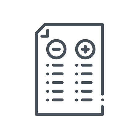 responsive: Pros and cons icon suitable for info graphics, websites and print media and  interfaces. Hand drawn style, pixel perfect line vector icon. Illustration
